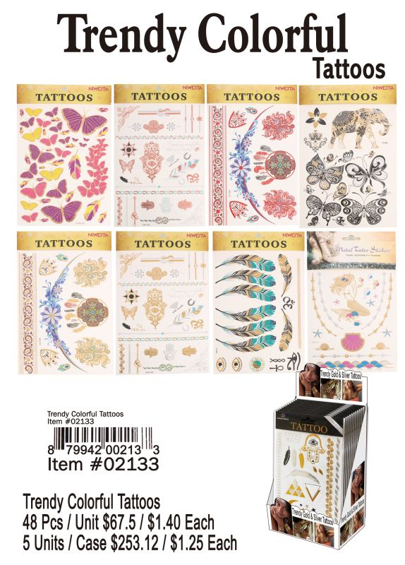 Trendy Colorful Tattoos - 48 Pieces Unit