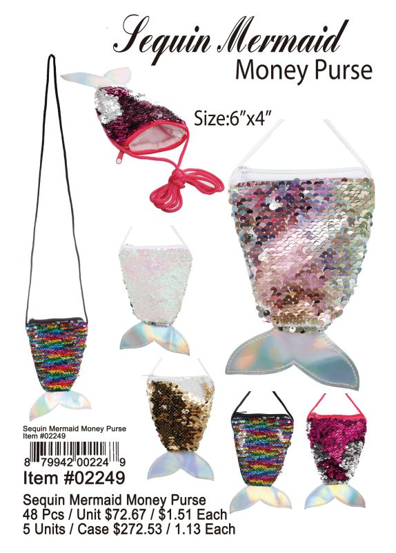 Sequin Mermaid Money Purse - 48 Pieces Unit