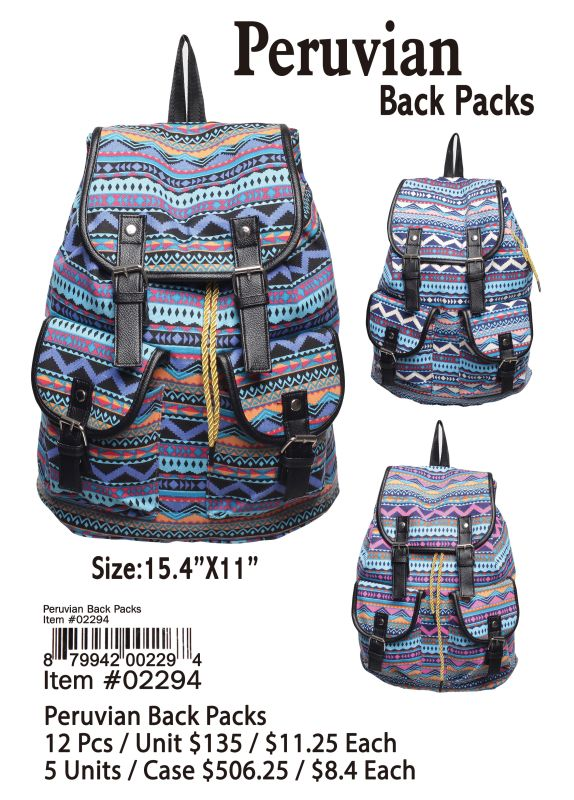 Peruvian Back Packs - 12 Pieces Unit