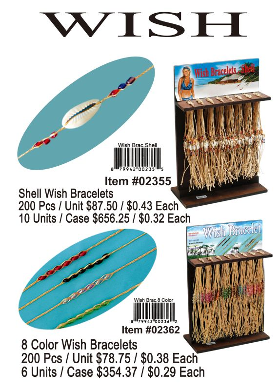 Wish Bracelets. Shell - 200 Pieces Unit