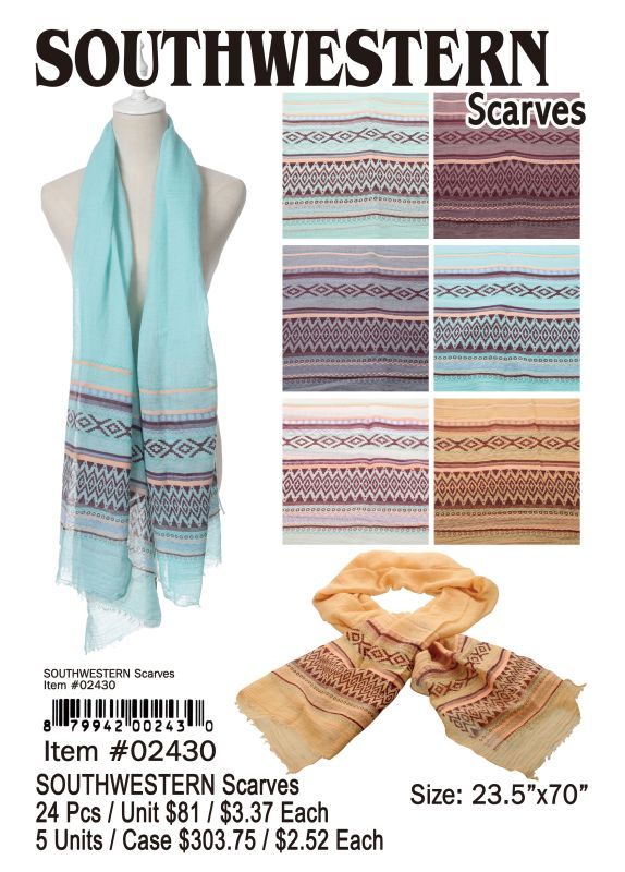 Southwestern Scarves - 24 Pieces Unit