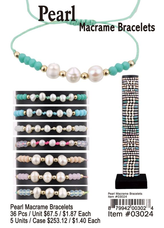 Pearl Macrame Bracelets - 36 Pieces Unit