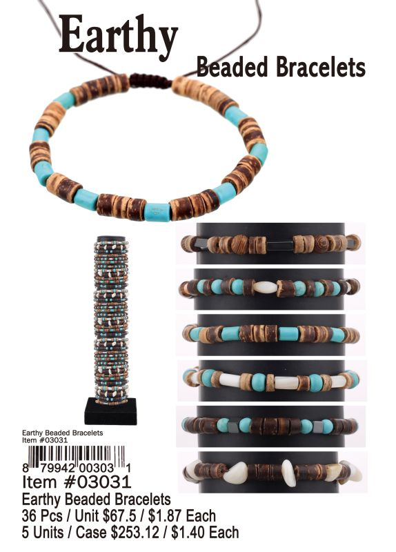 Earthy Beaded Bracelets - 36 Pieces Unit