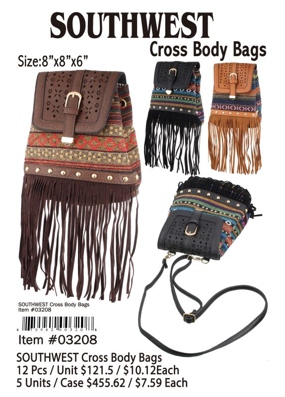 Southwest Cross Body Bags - 12 Pieces Unit