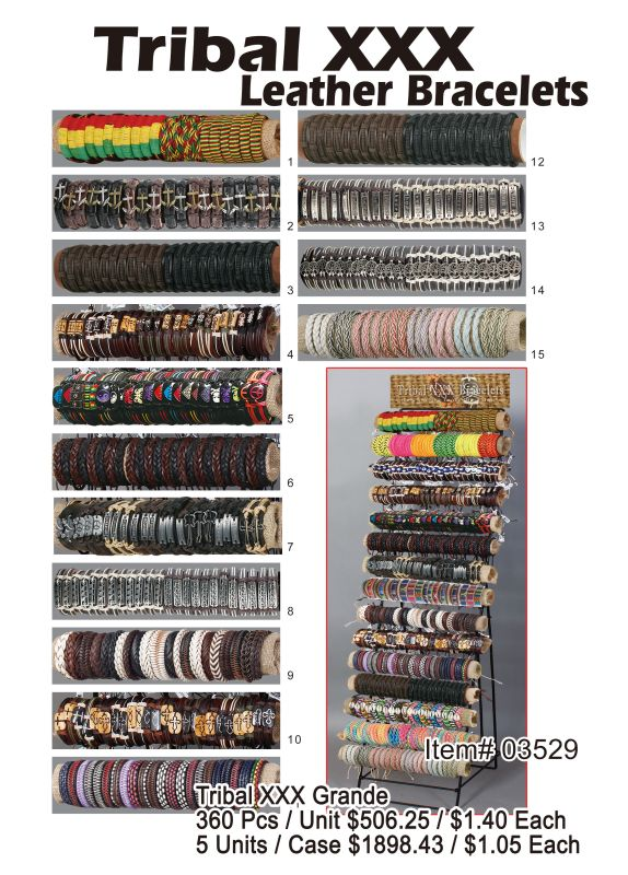 Tribal Xxx Leather Bracelets - 360 Pieces Unit