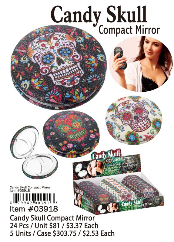 Candy Skull Compact Mirror - 24 Pieces Unit