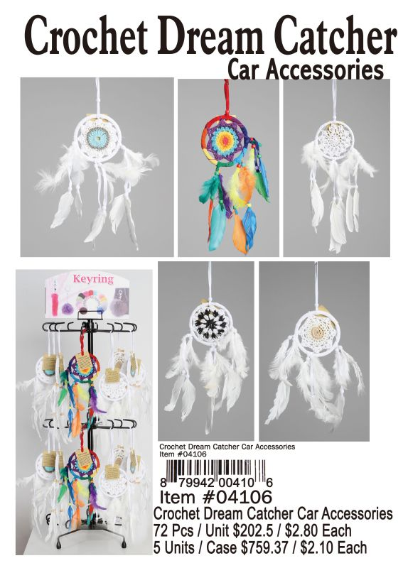 Crochet Dream Catcher Car Accessories - 72 Pieces Unit