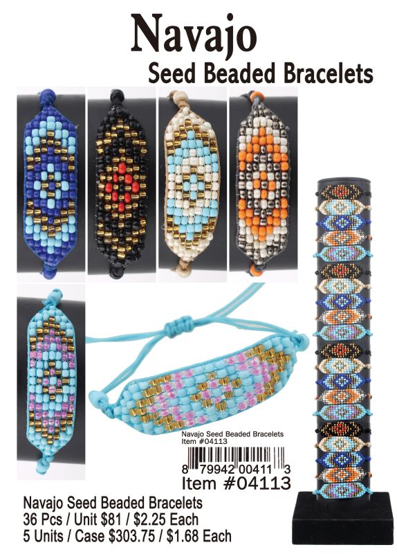 Navajo Seed Beaded Bracelets - 36 Pieces Unit