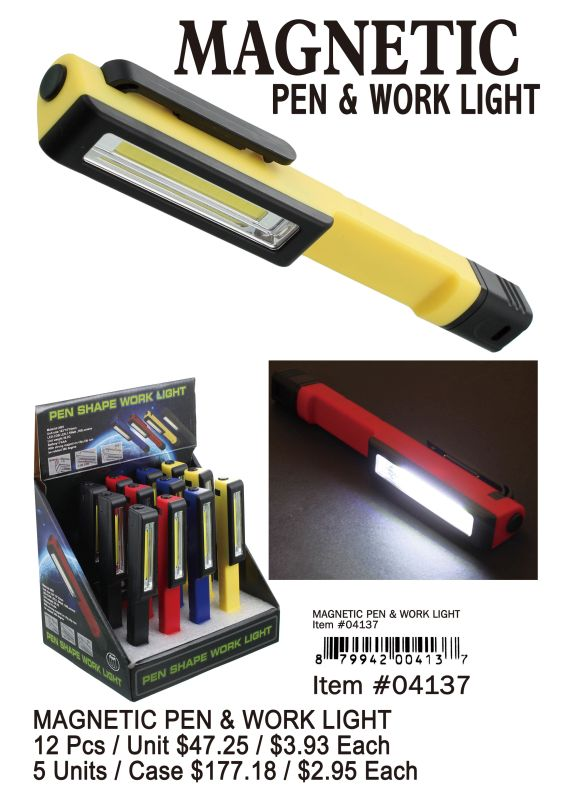 Magnetic Pen&Work Light - 12 Pieces Unit