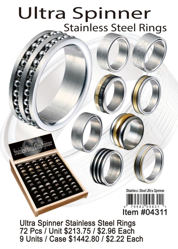 Ultra Spinner Stainless Steel Rings - 72 Pieces Unit