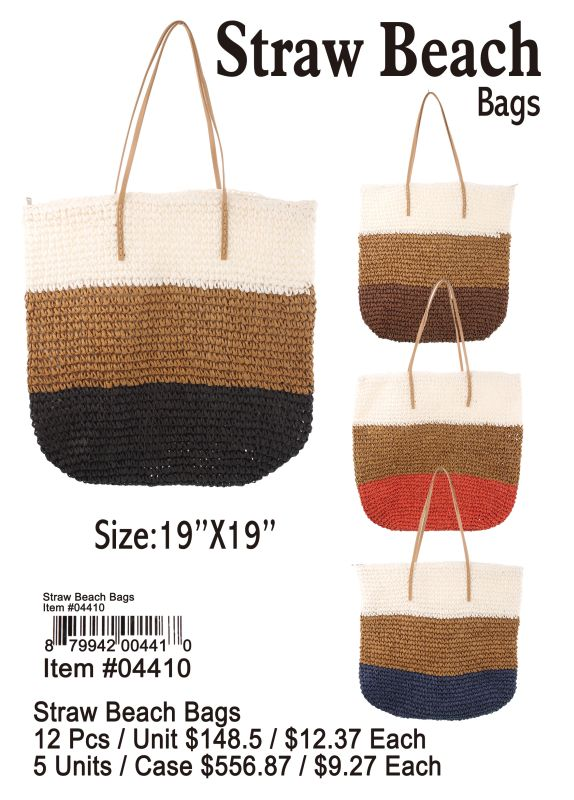 Straw Beach Bags - 12 Pieces Unit
