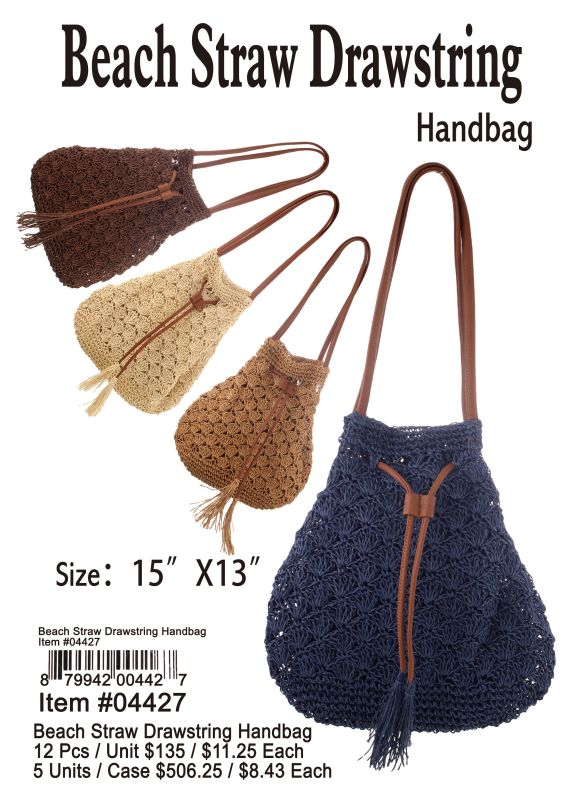 Beach Straw Drawsting Handbag - 12 Pieces Unit