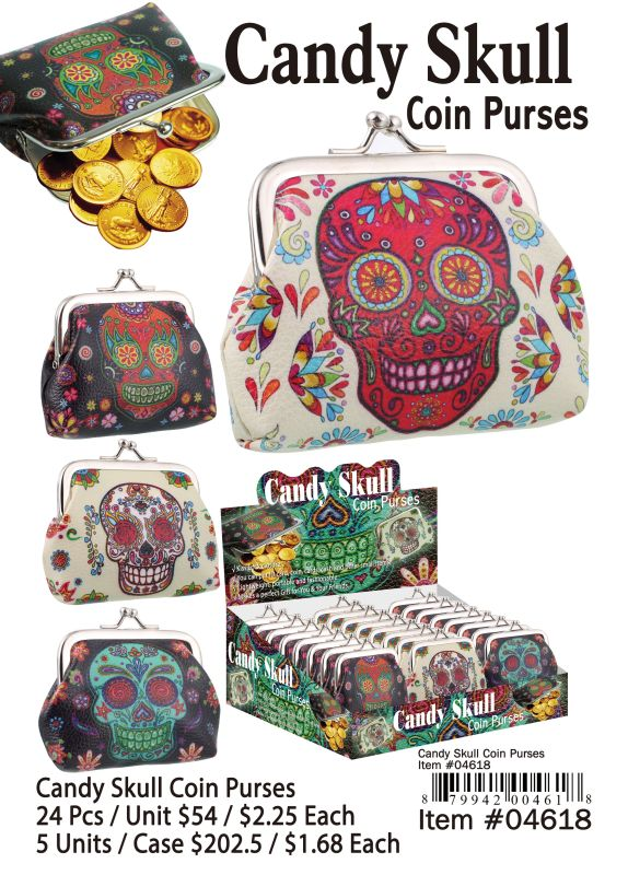 Candy Skull Coin Purses - 24 Pieces Unit