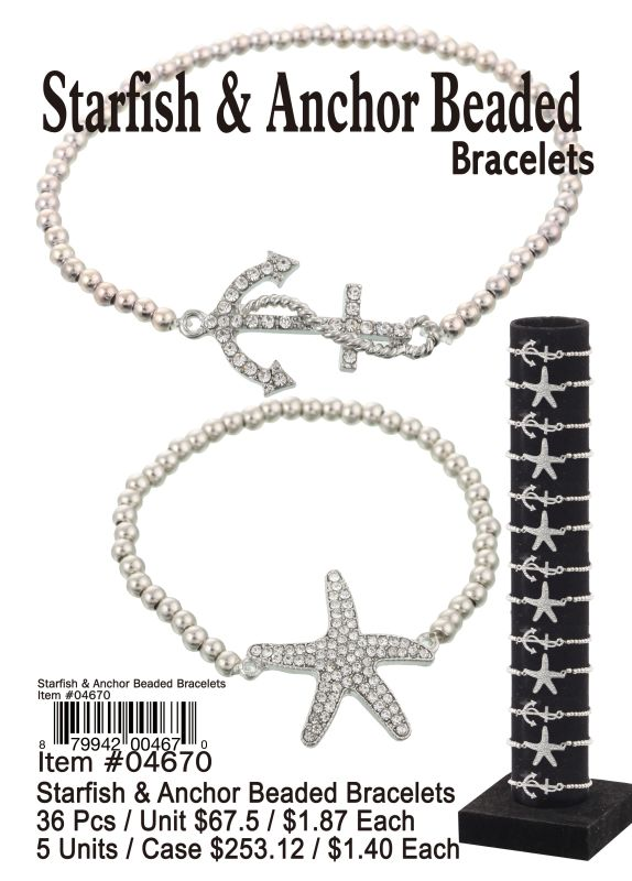 Starfish&Anchor Beaded Bracelets - 36 Pieces Unit
