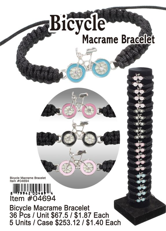 Bicycle Macrame Bracelets - 36 Pieces Unit