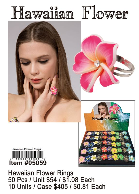 Hawaiian Flower Rings - 50 Pieces Unit