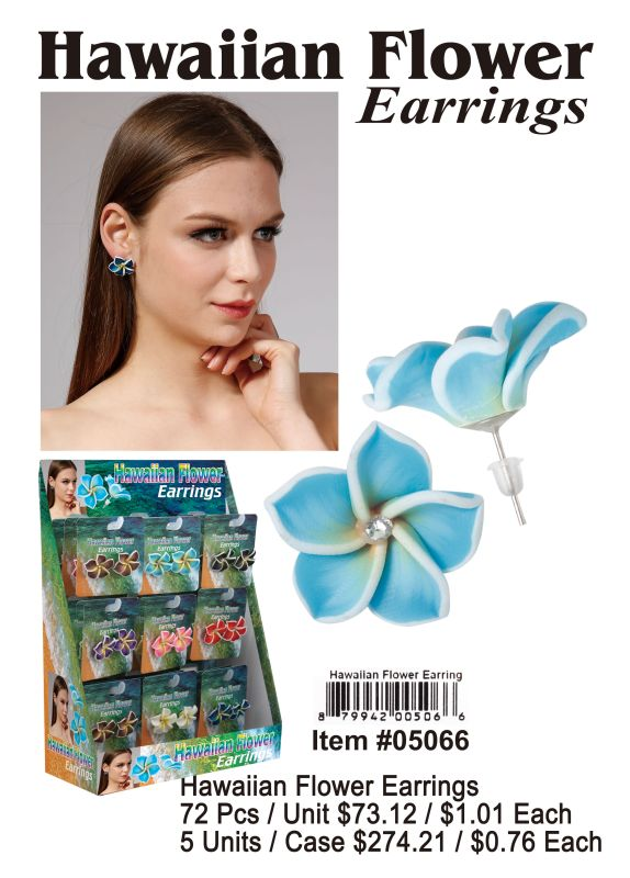 Hawaiian Flower Earrings - 72 Pieces Unit