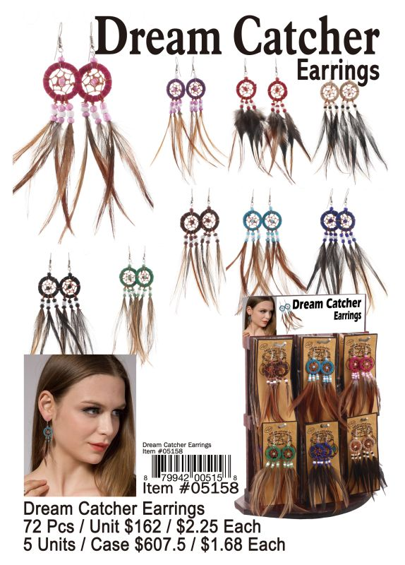 Dream Catcher Earrings - 72 Pieces Unit