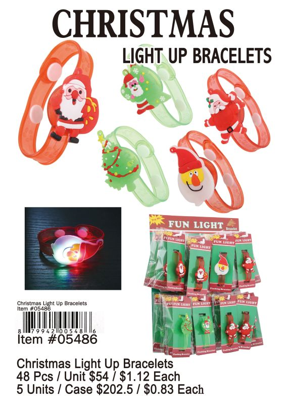 Christmas Light Up Bracelets - 48 Pieces Unit