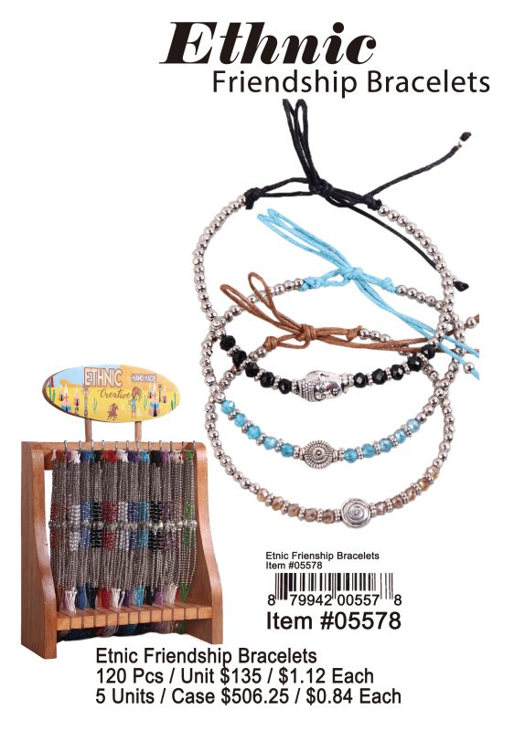 Ethnic Friendship Bracelets - 120 Pieces Unit