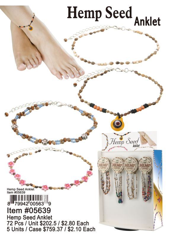 Hemp Seed Anklet - 72 Pieces Unit