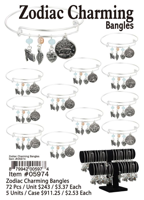 Zodiac Charming Bangles - 72 Pieces Unit