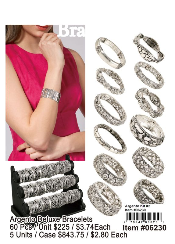 Argento Deluxe Bracelets - 60 Pieces Unit