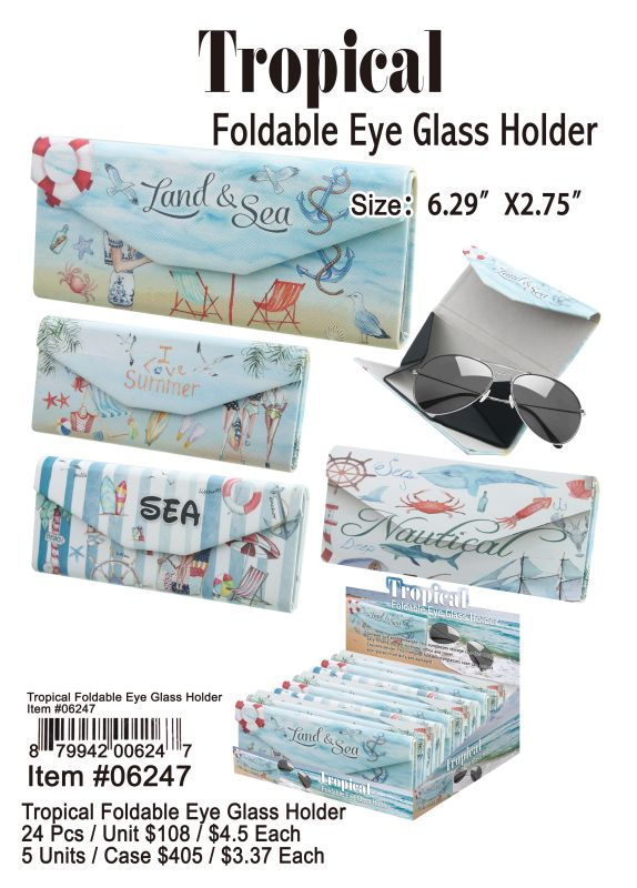 Tropical Foldable Eye Glass Holder - 24 Pieces Unit