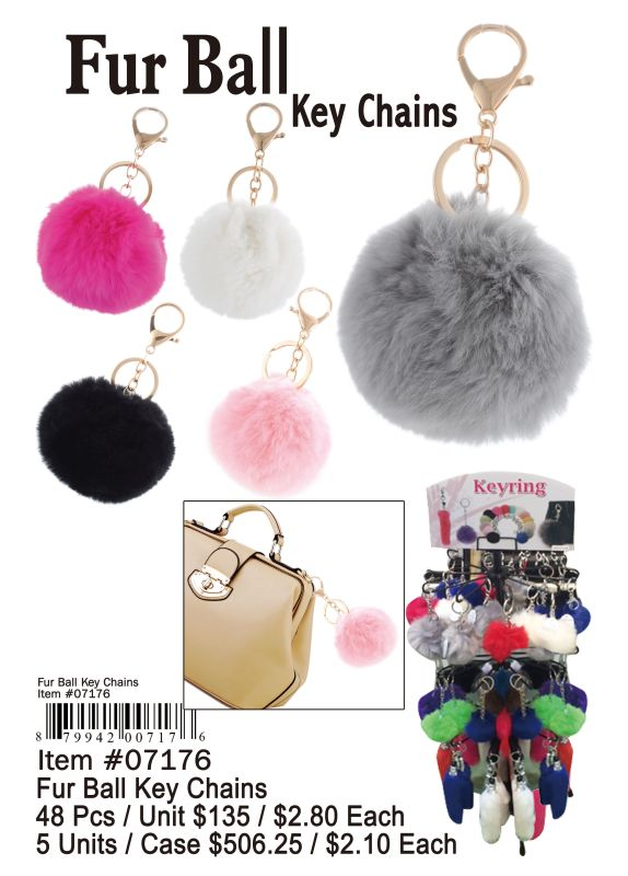 Fur Ball Key Chain - 48 Pieces Unit