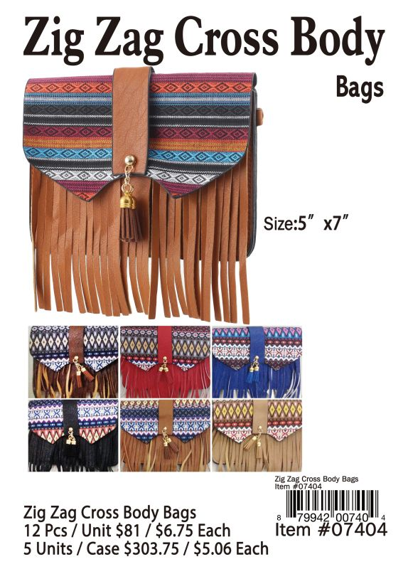 Zig Zig Cross Body Bags - 12 Pieces Unit