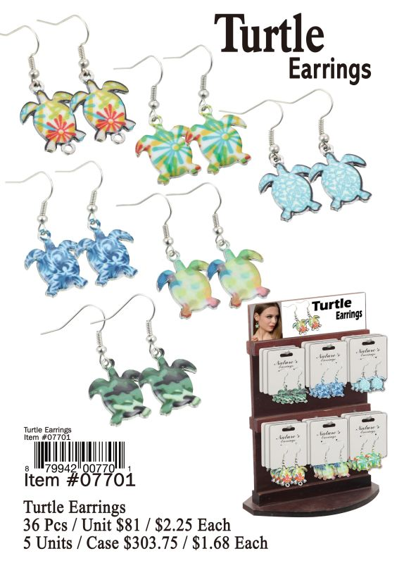 Turtle Earrings - 36 Pieces Unit