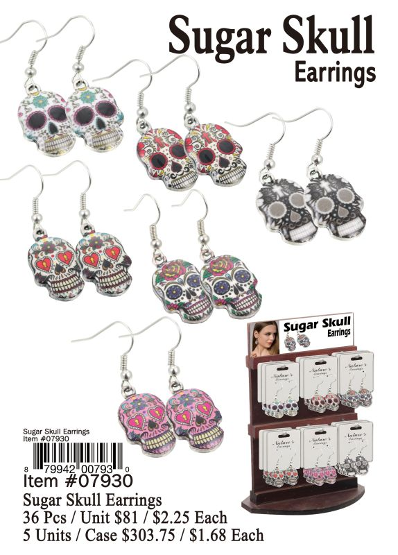 Sugar Skull Earrings - 36 Pieces Unit