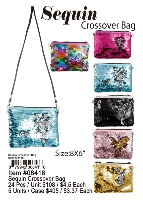 Sequin Crossover Bag - 24 Pieces Unit