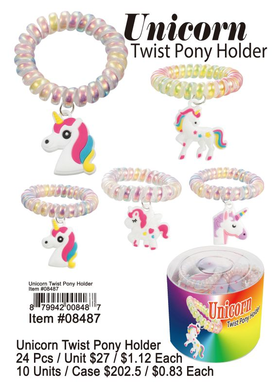 Unicorn Twist Pony Holder - 24 Pieces Unit