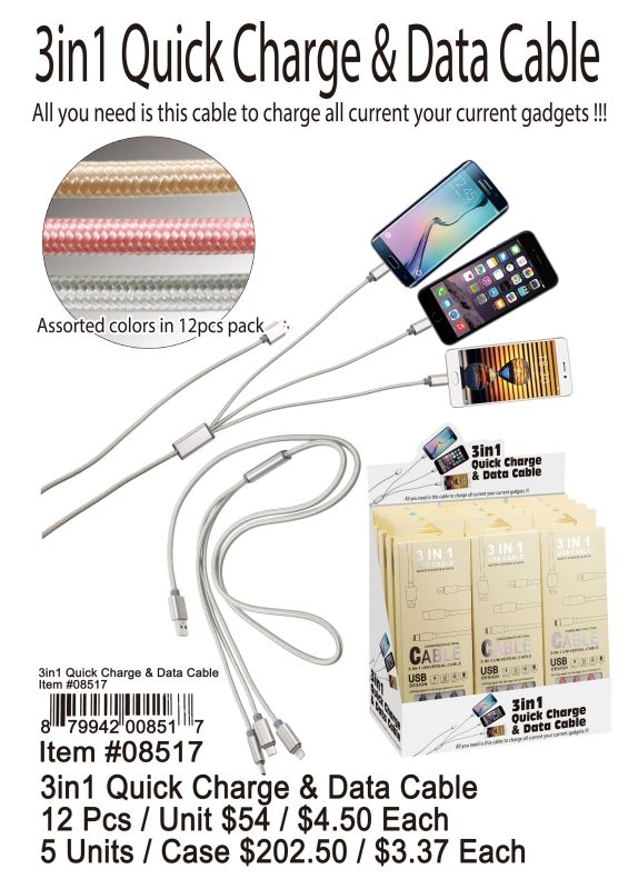 3 In 1 Quick Charge&Data Cable - 12 Pieces Unit