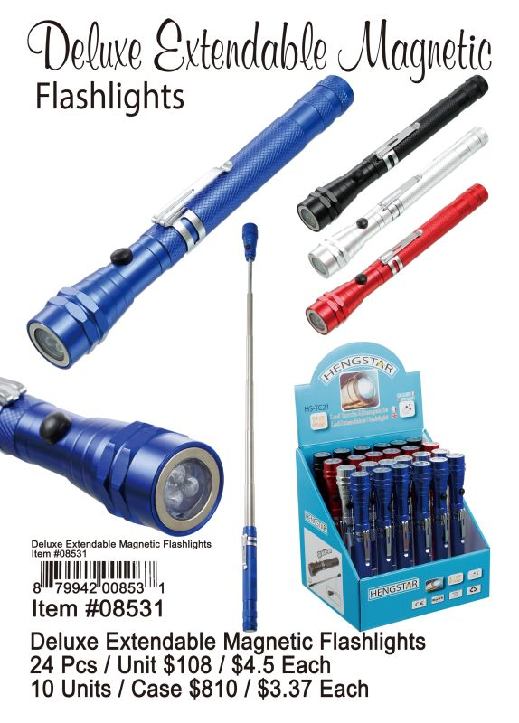 Deluxe Extendable Magnetic Flashlights - 24 Pieces Unit