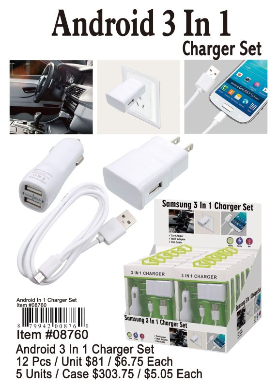 Android 3 In 1 Charger Set - 12 Pieces Unit