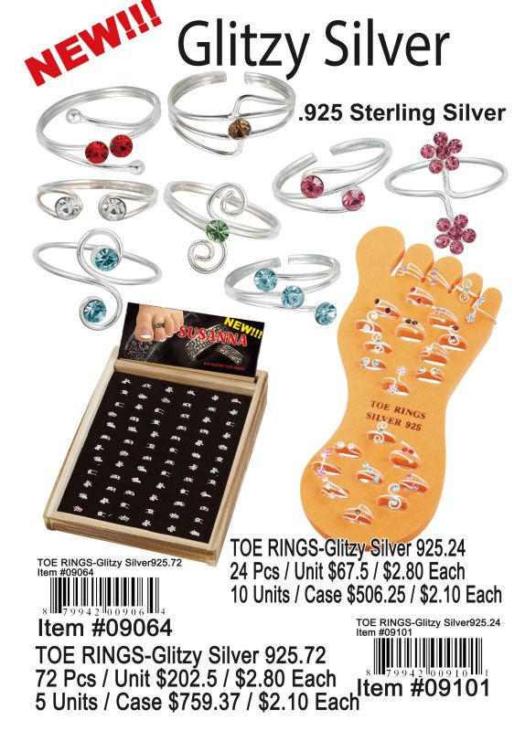 Toe Rings-Glitzy Silver 925 Sterling Silver - 72 Pieces Unit