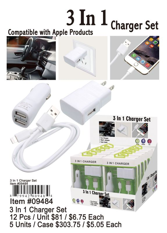3 In 1 Charger Set - 12 Pieces Unit