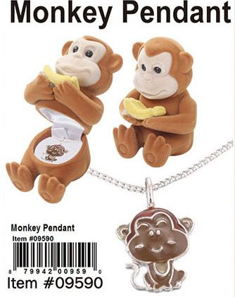 Cuties Animal Necklace-Monkey Pendant - 48 Pieces Unit