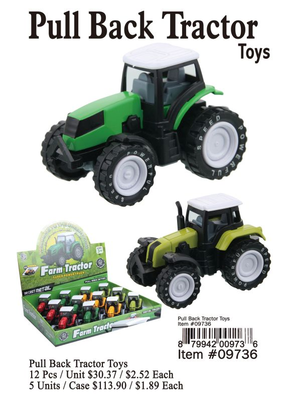 Pull Back Tractor Toys - 12 Pieces Unit