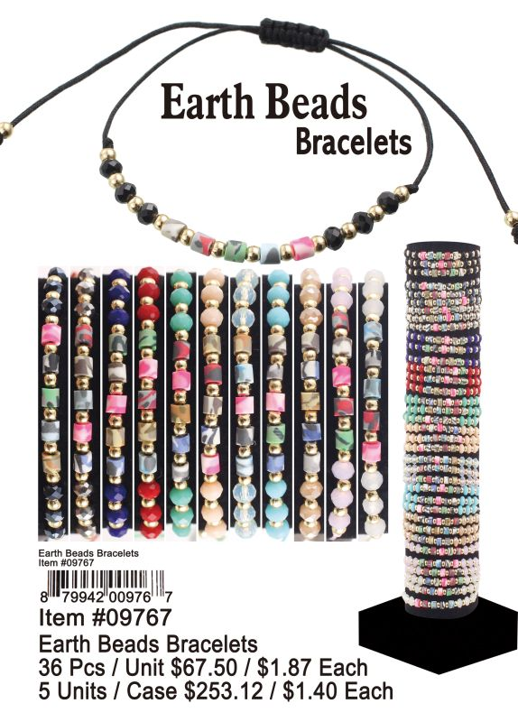 Earth Beads Bracelets - 36 Pieces Unit