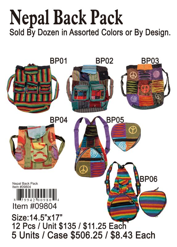Nepal Back Pack - 12 Pieces Unit