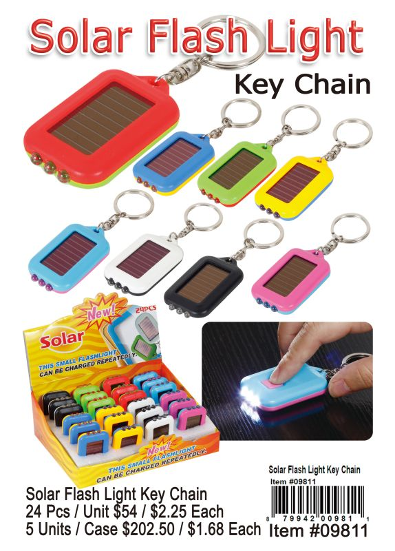 Solar Flash Light Key Chain - 24 Pieces Unit