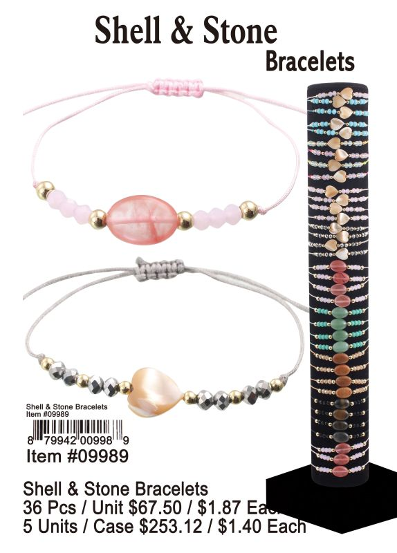 Shell&Stone Bracelets - 36 Pieces Unit