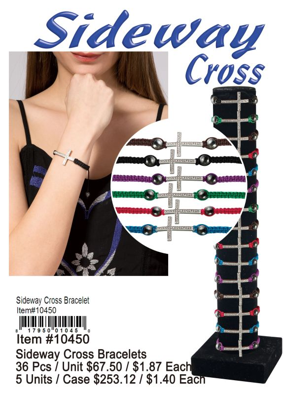 Sideway Cross Bracelets - 36 Pieces Unit
