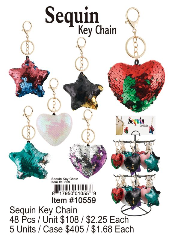 Sequin Key Chain - 48 Pieces Unit