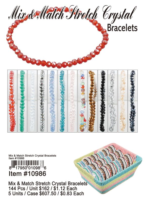 Mix&Match Sretch Crystal Bracelets - 144 Pieces Unit