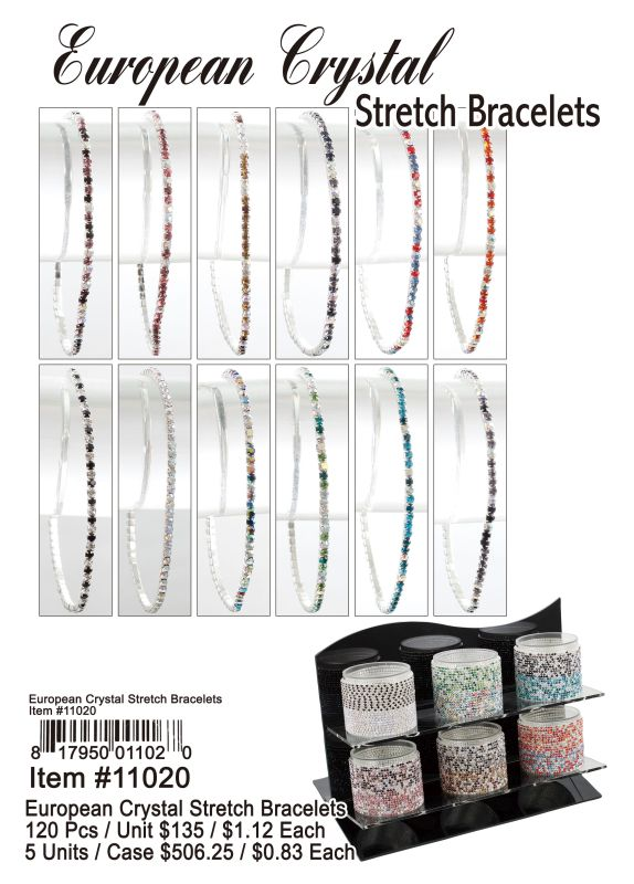 European Crystal Stretch Bracelets - 120 Pieces Unit