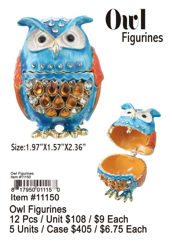 Owl Figurines - 12 Pieces Unit